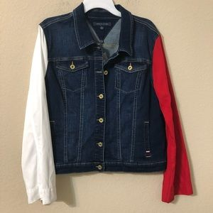 Tommy Hilfiger Red & White Sleeves Jean Jacket NWT